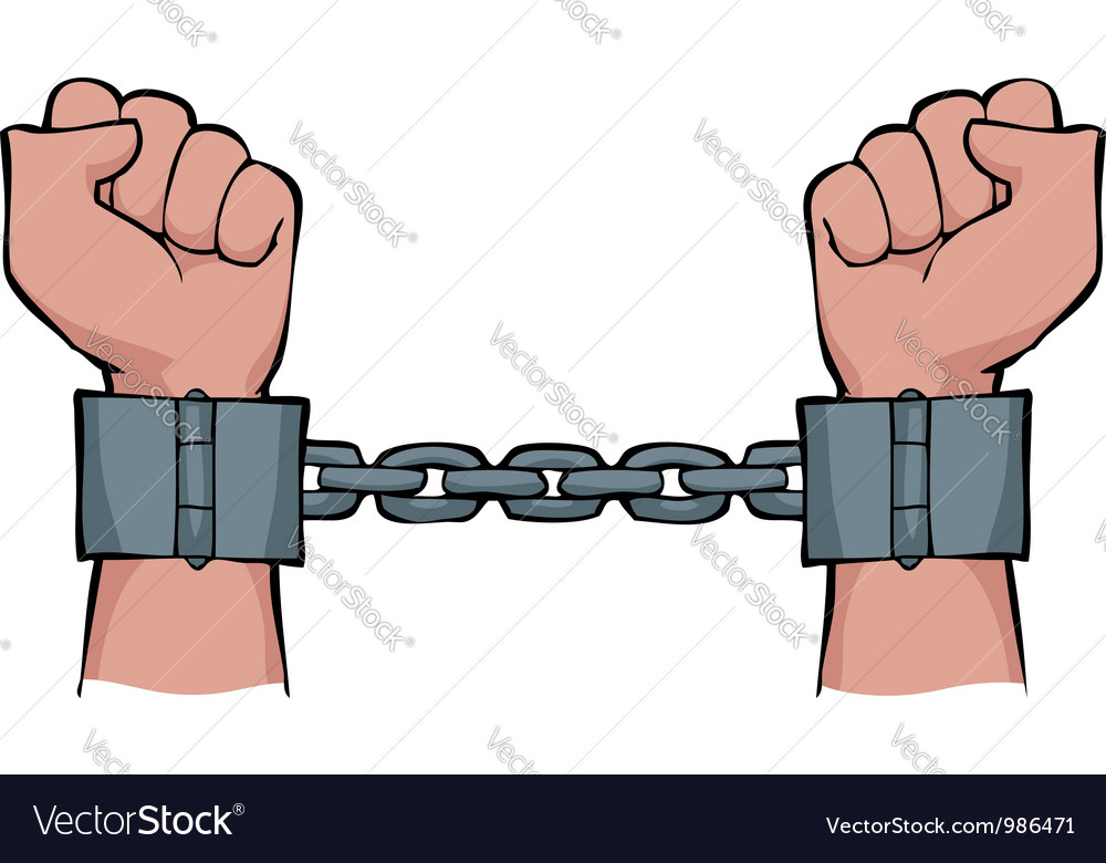 Shackles on his hands vector