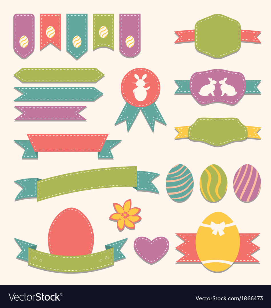 Free easter scrapbook set - labels ribbons and other vector