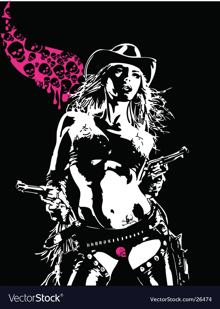 Cowgirl with guns vector