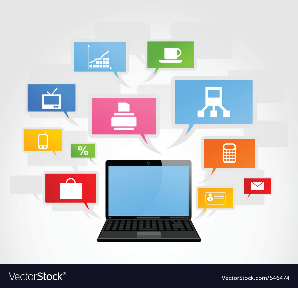 Laptop and office network vector