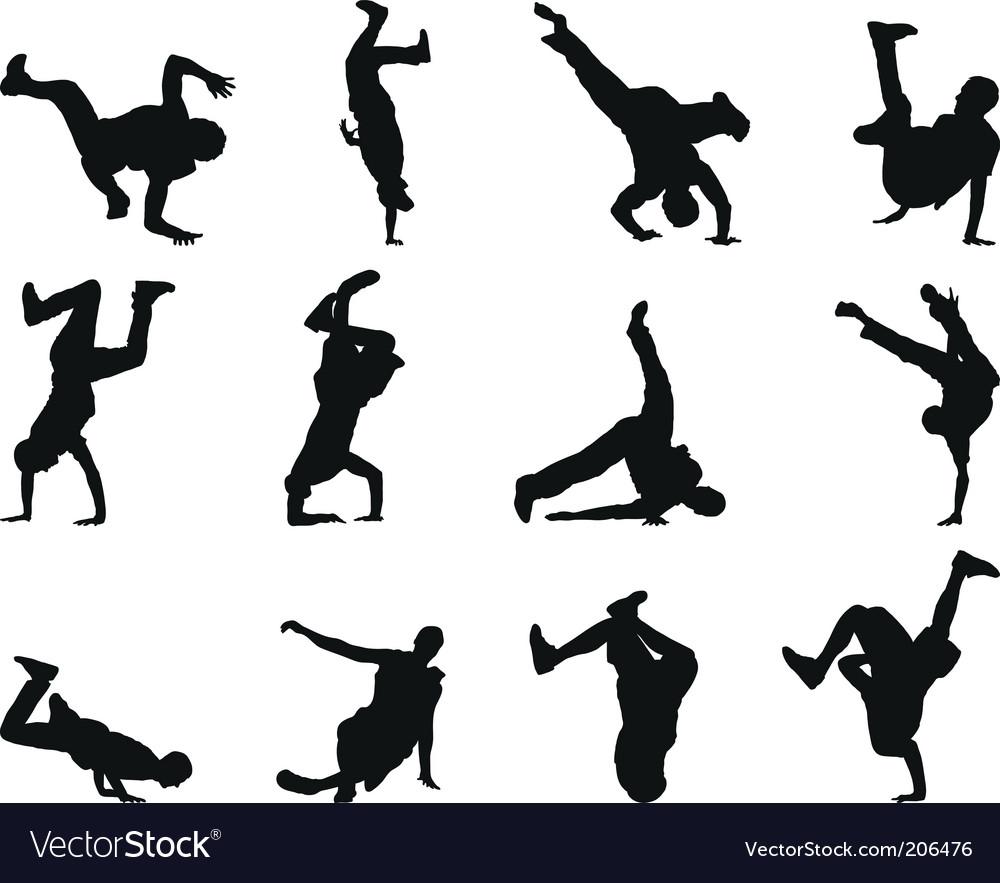 Breakdancer silhouettes vector