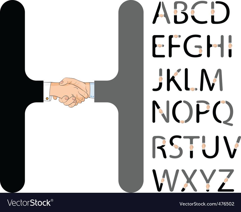 Handshake alphabet vector