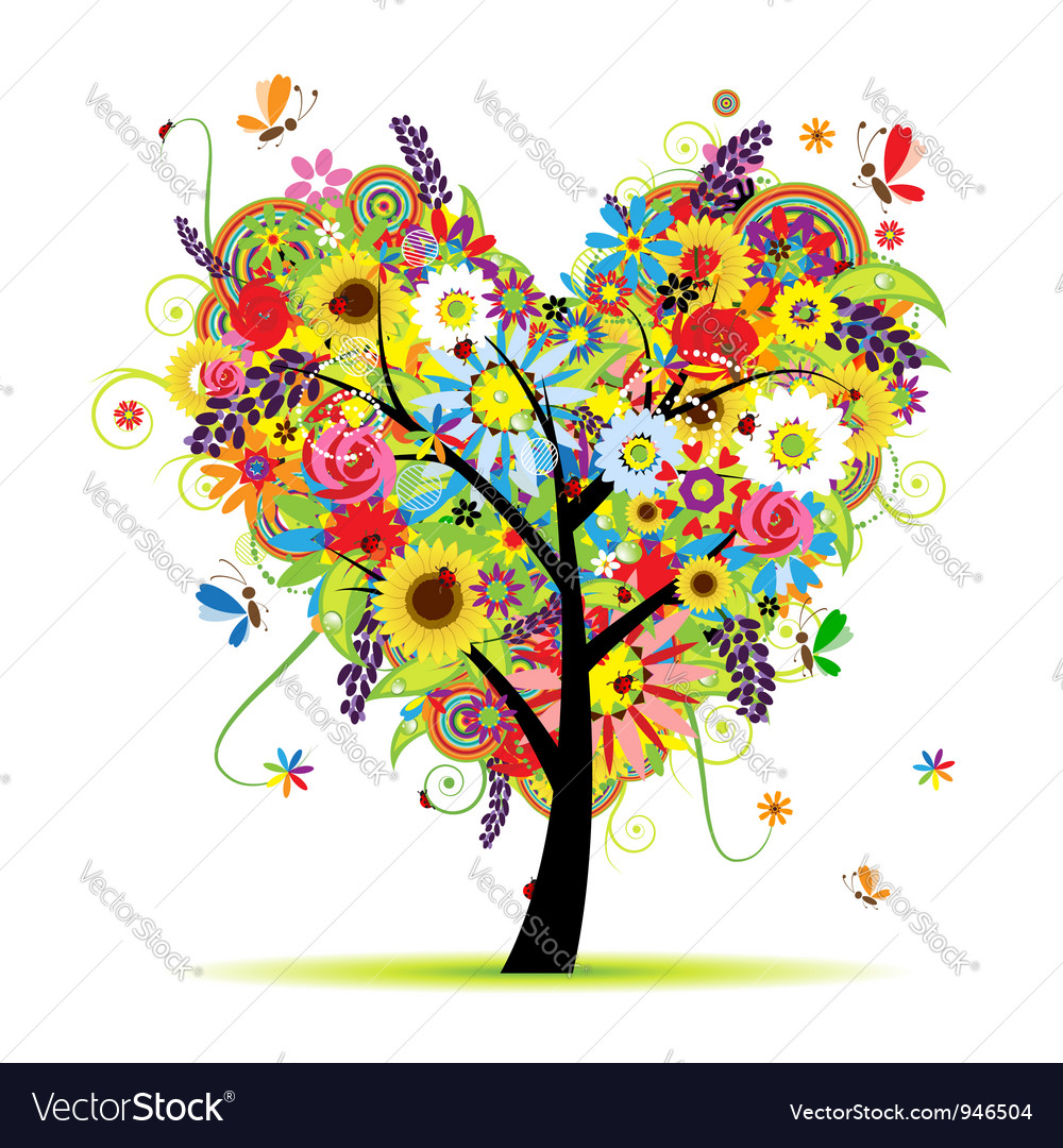 Summer floral tree heart shape vector