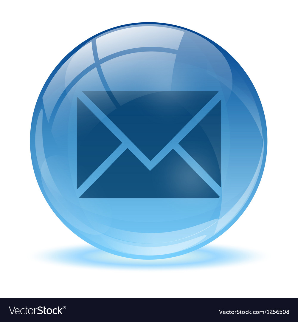 Blue abstract 3d mail icon vector
