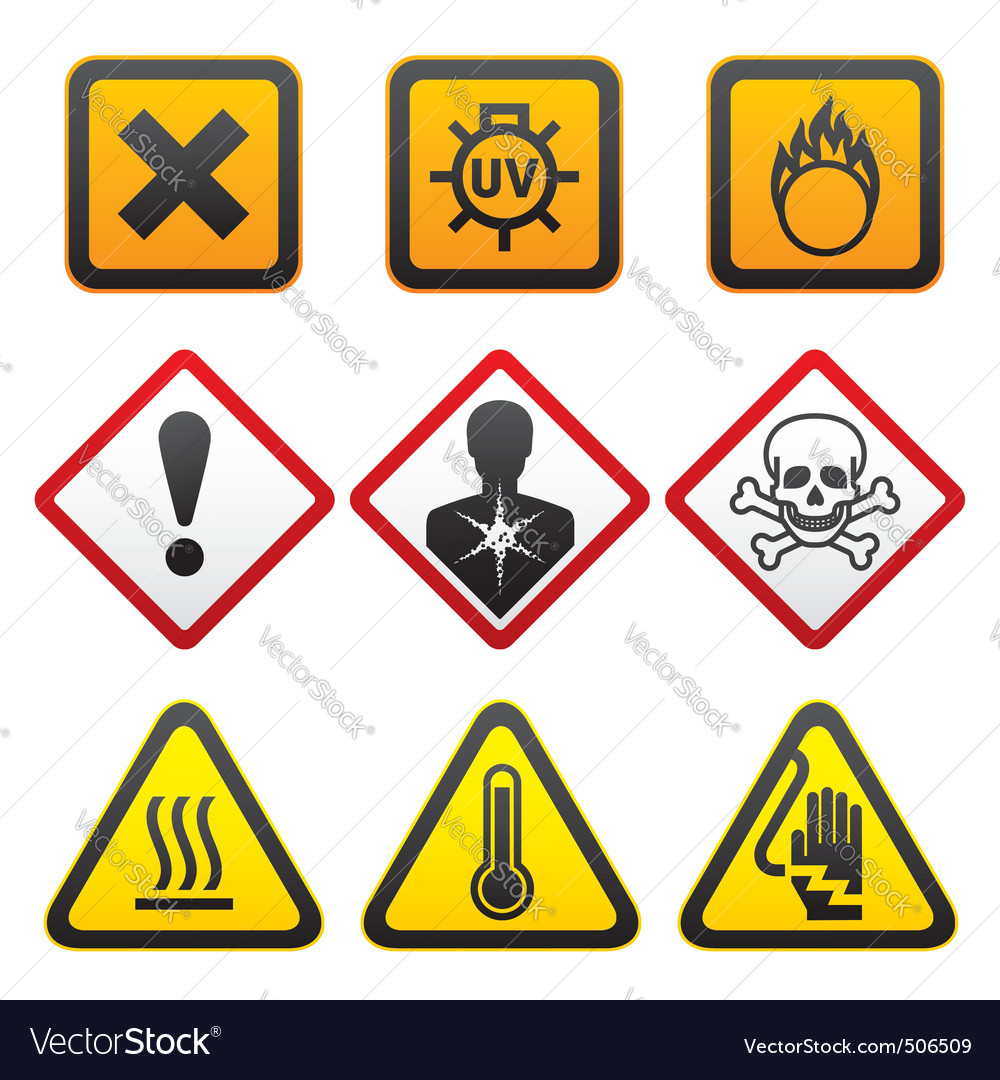 Warning symbols  hazard signsforth set vector