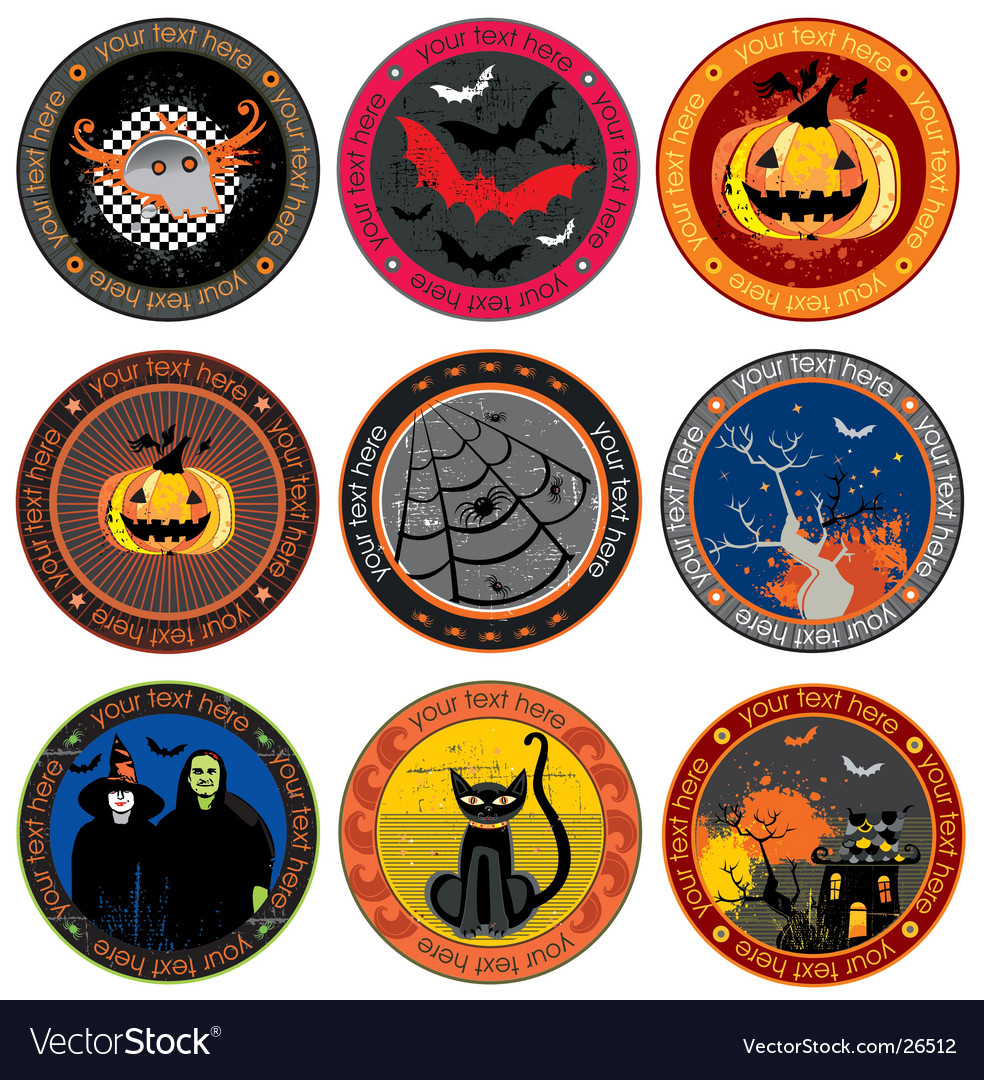 Halloween drink coasters vector