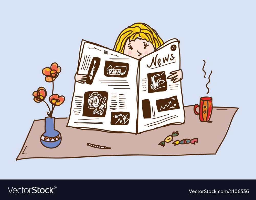 Girl reading newspaper at the tea table vector