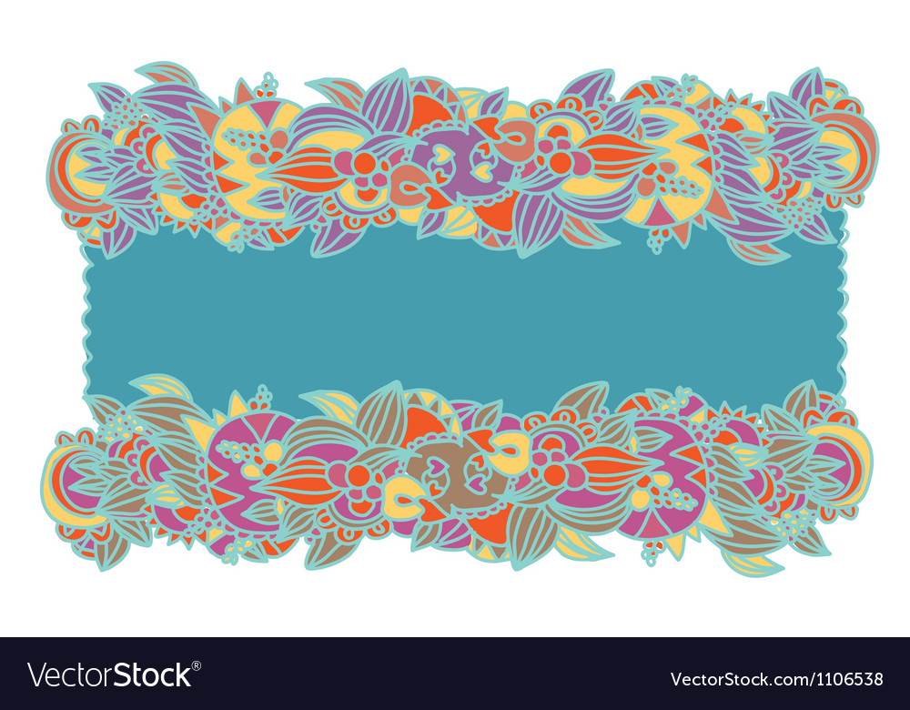 Floral ethnic frame hand-drawn vector