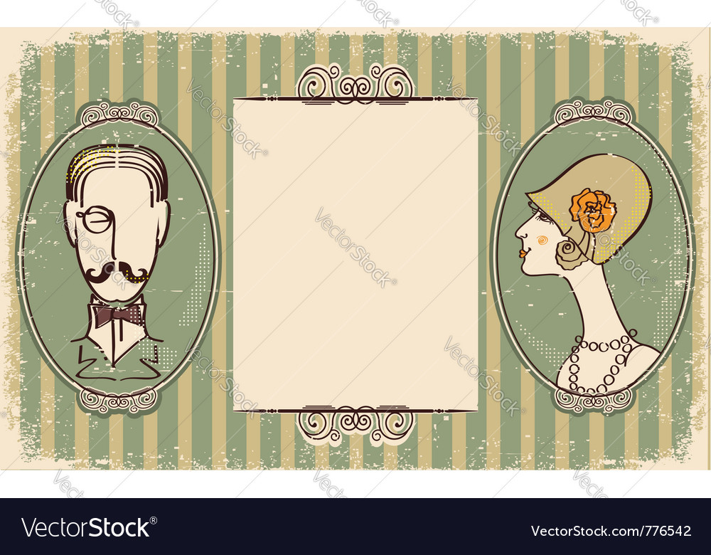Vintage portraits background vector