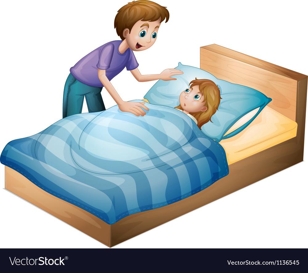 A boy and sleeping girl vector