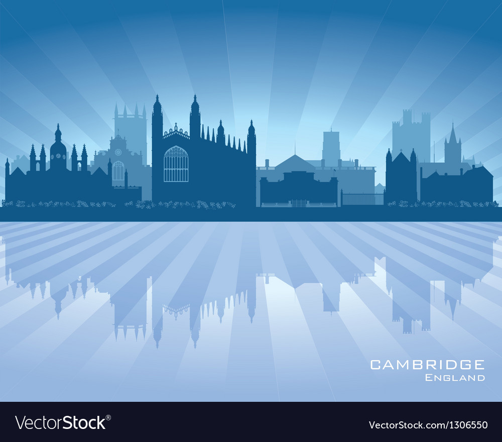 Cambridge england city skyline silhouette vector