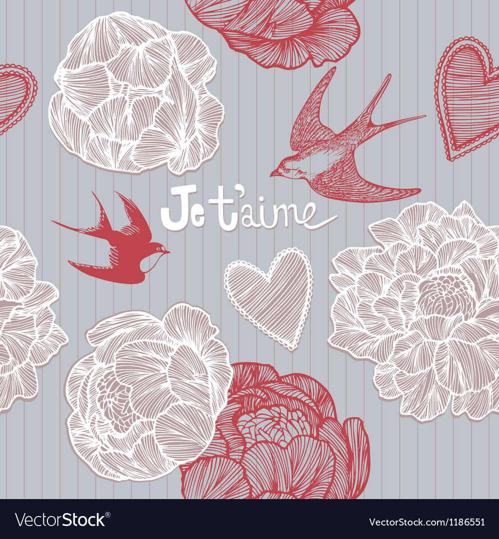 Valentines card swallows and flowers pattern vector