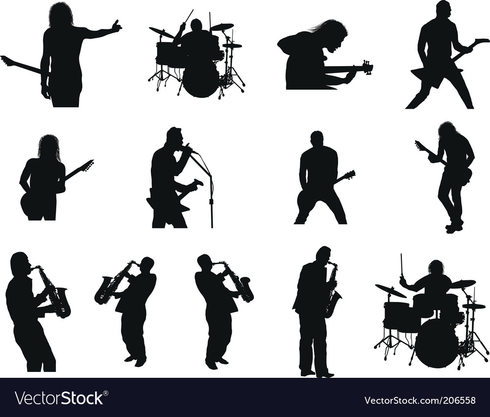 Rock and jazz silhouettes vector