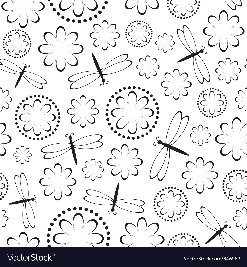 Flowers and dragonflies seamless vector