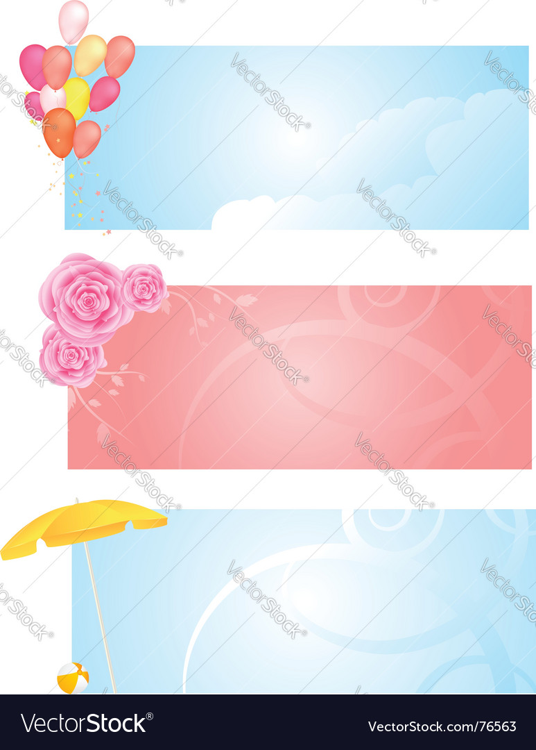 Banners with three different design vector