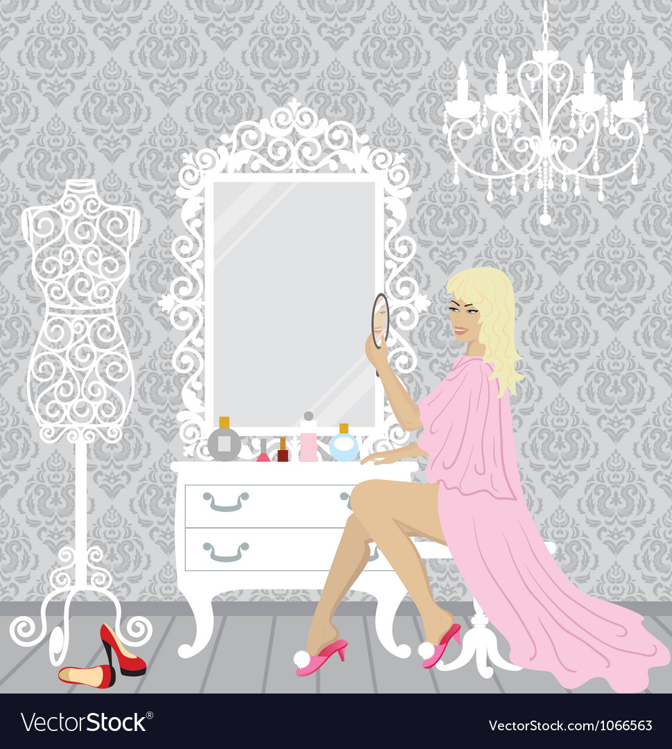 Beautiful fashion woman in her boudoir vector