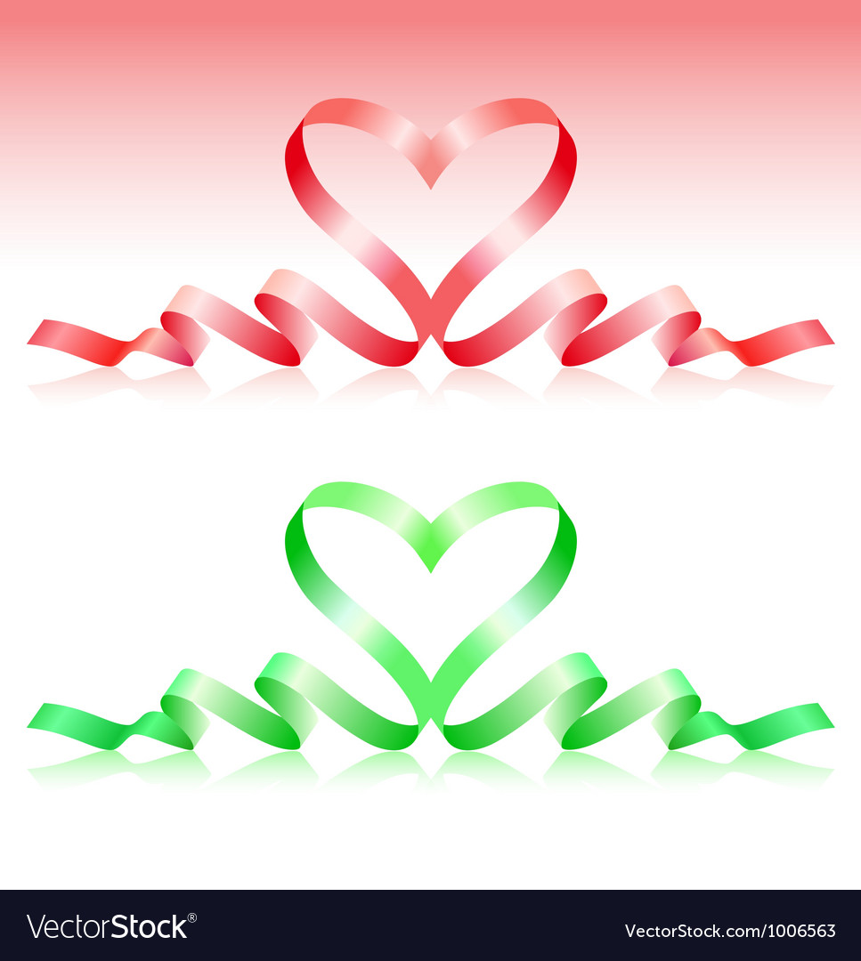 Red and green ribbons in the form of heart vector