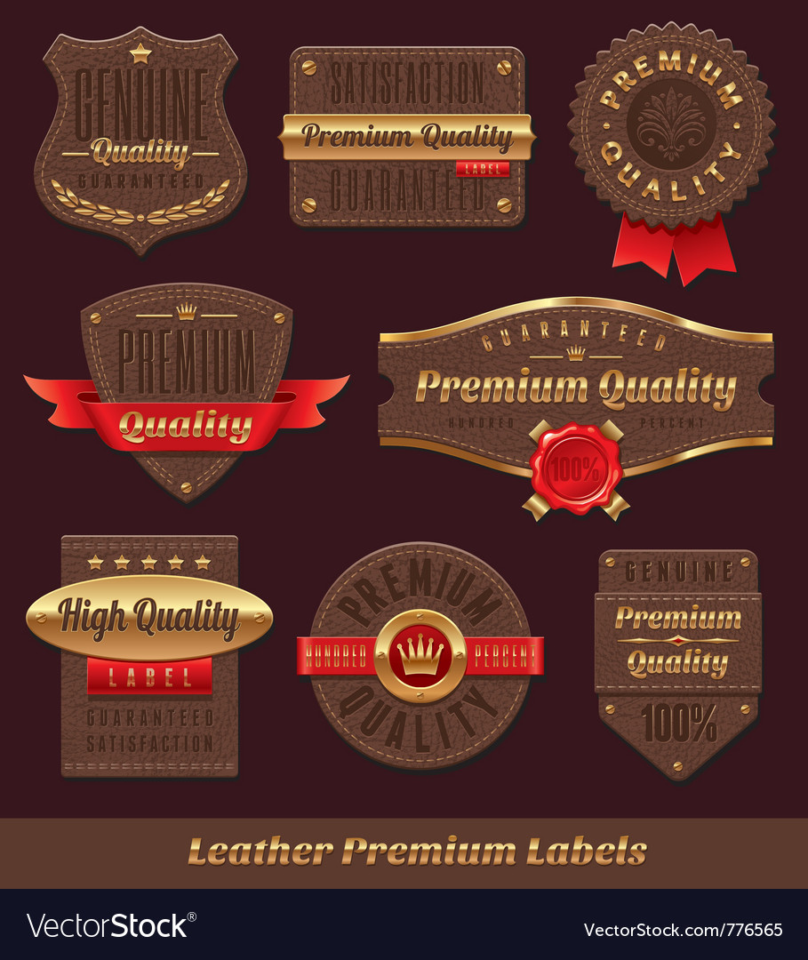 Leather premium and quality labels vector