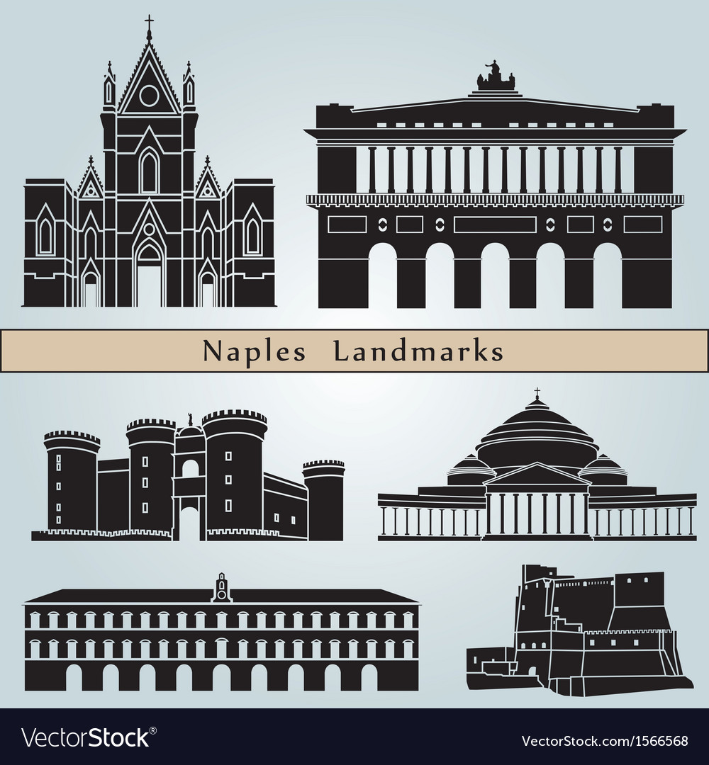 Naples landmarks and monuments vector