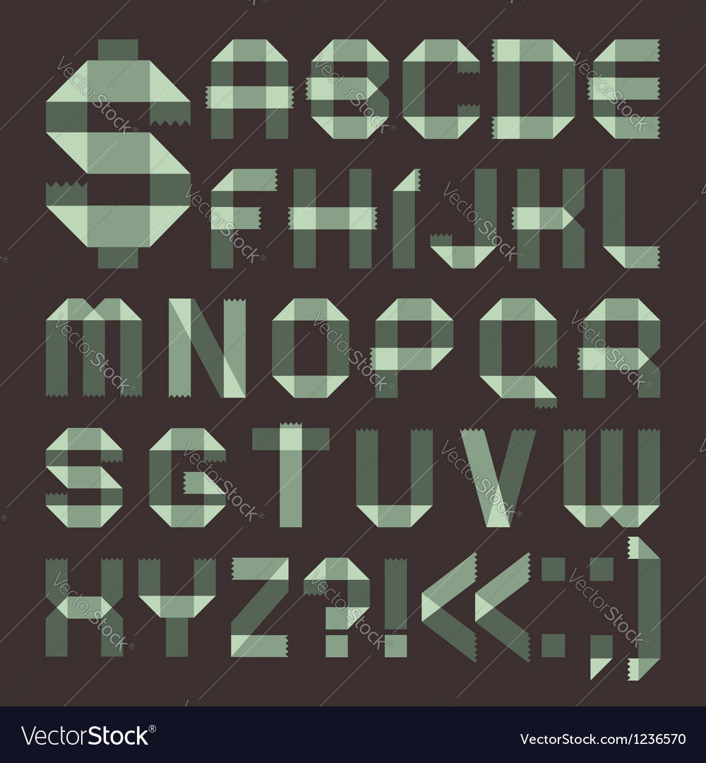 Font from spindrift scotch tape - roman alphabet vector