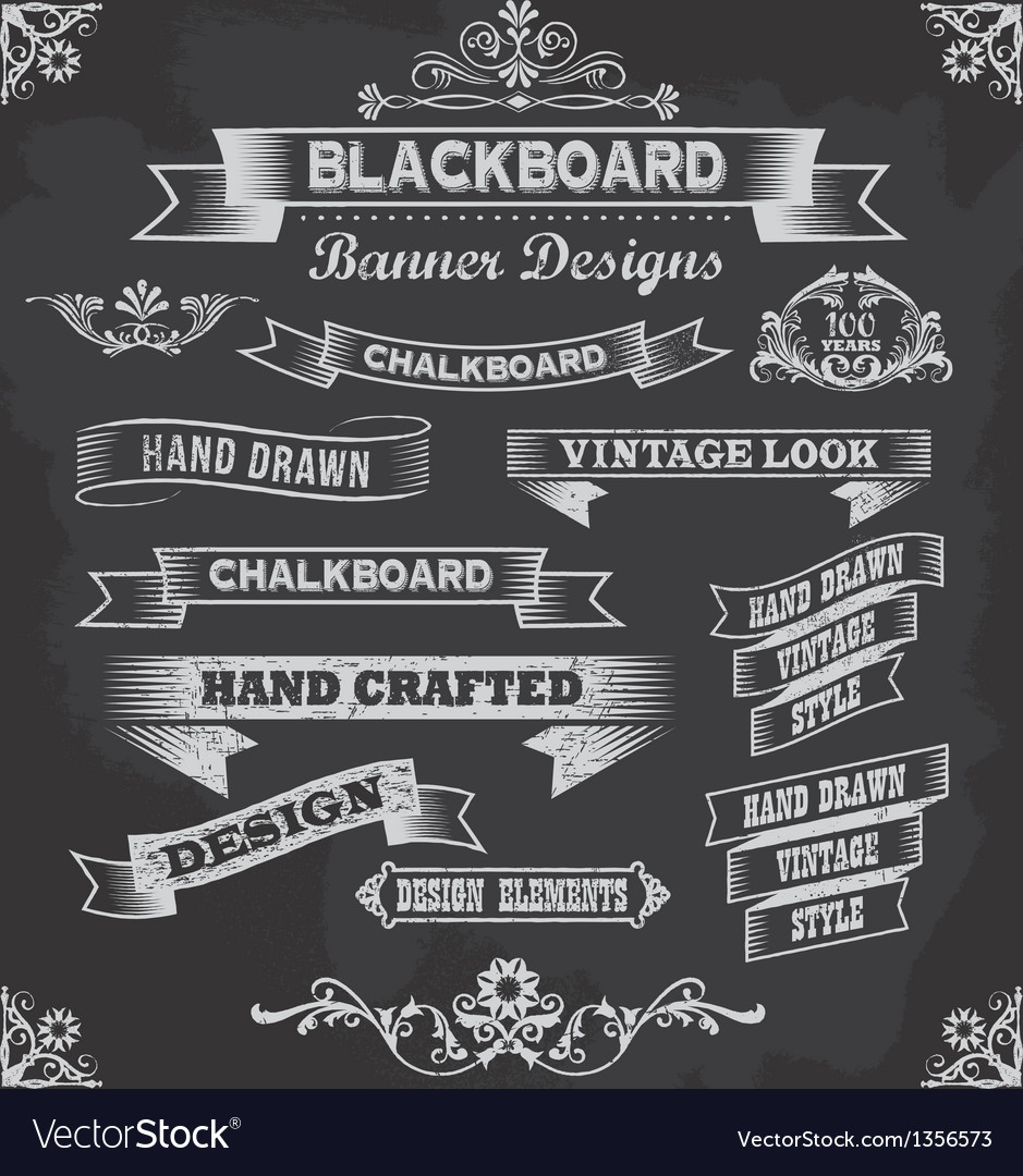Retro chalkboard calligraphy banners vector