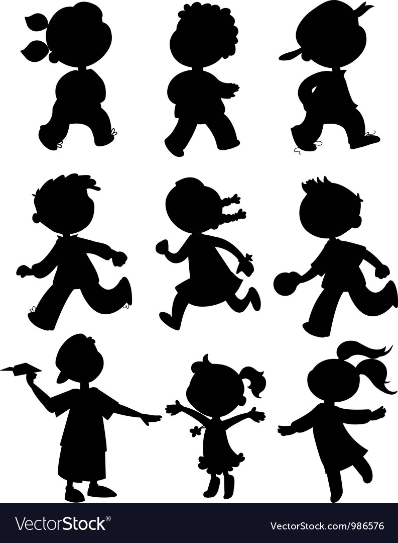 Nine kids black silhouettes vector
