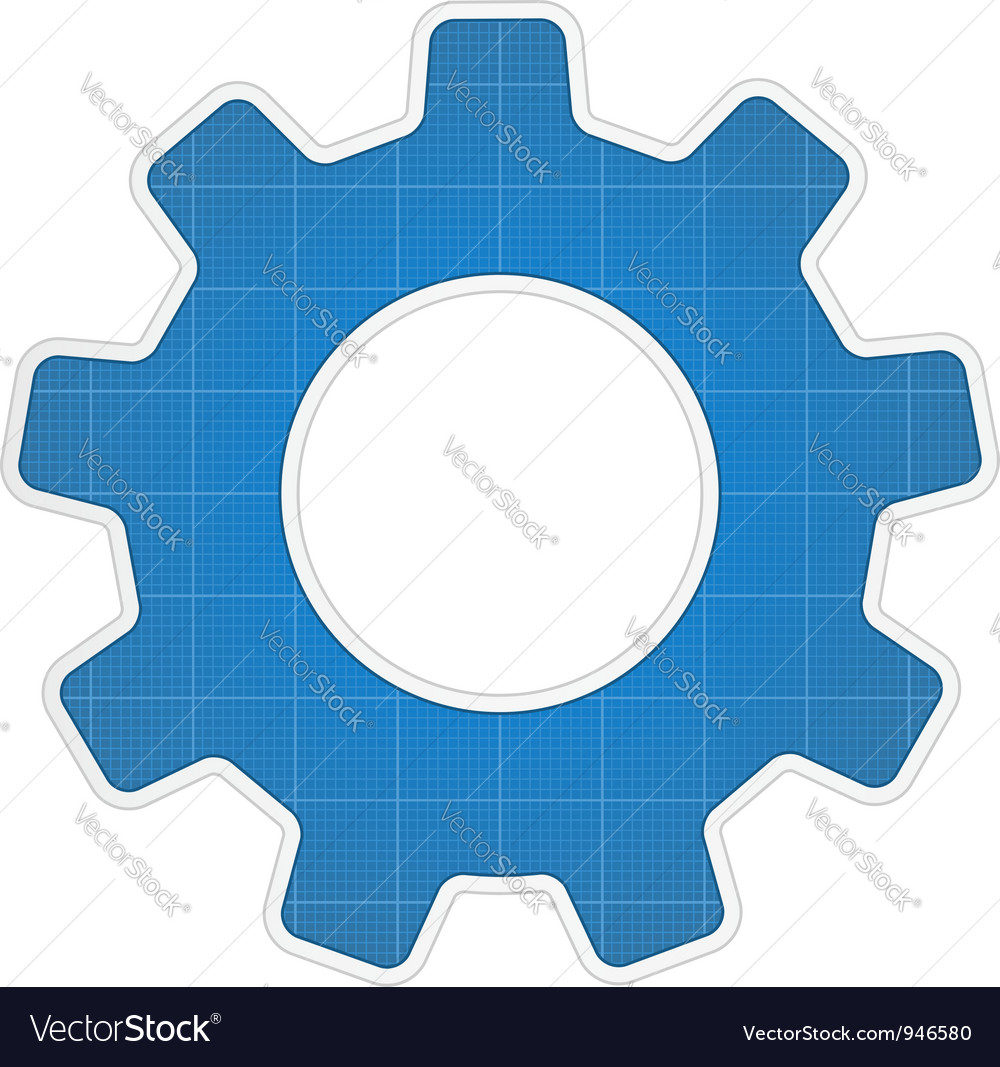 Blueprint gear icon vector