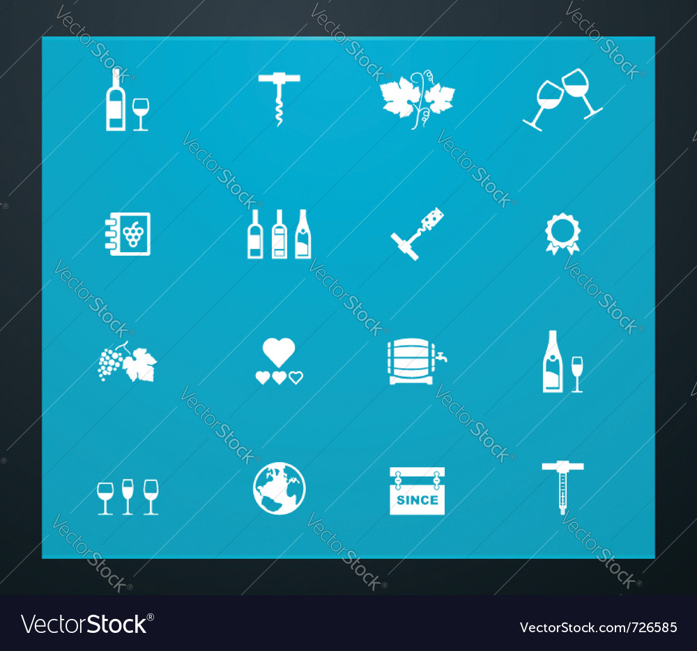 Wine related pictograms vector