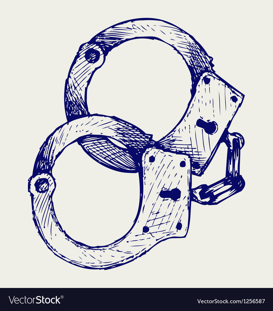 Metallic handcuffs vector