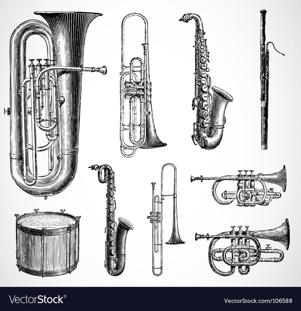 Antique instruments vector