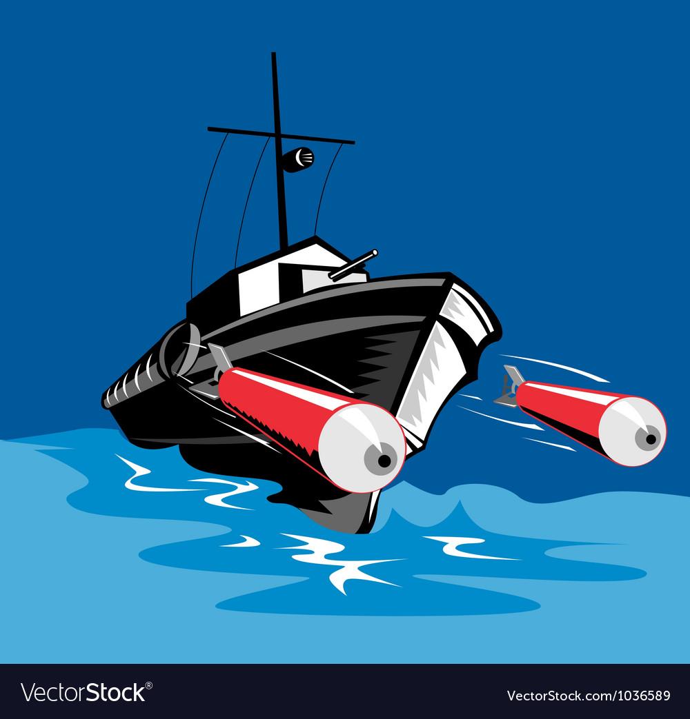 Torpedo boat retro vector