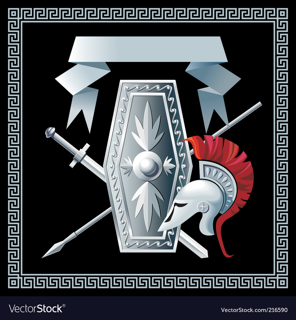Shield sword helmet and spear vector