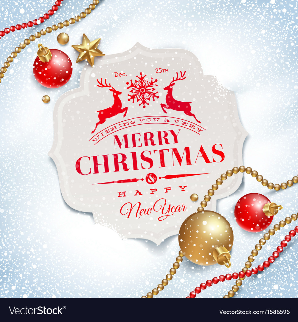 Christmas greeting card and decor on a snow vector