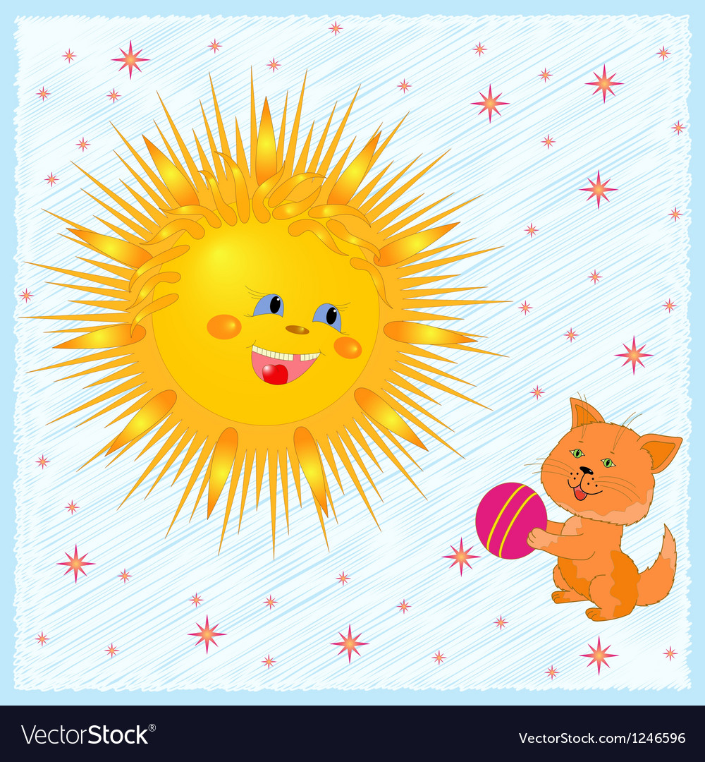 Sun and kitten vector