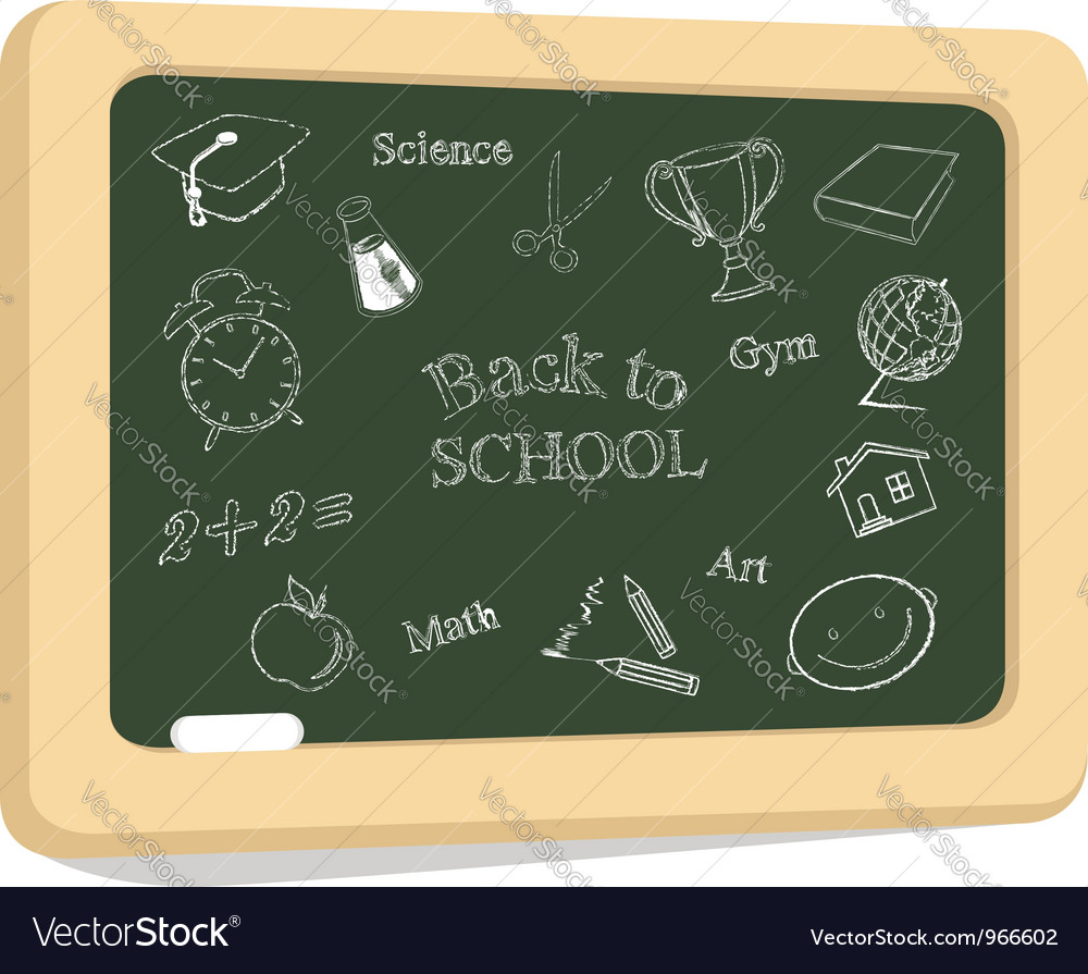School icons on chalkboard vector