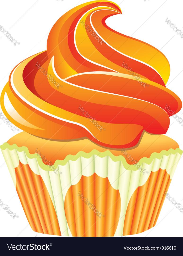 Orange cupcake vector