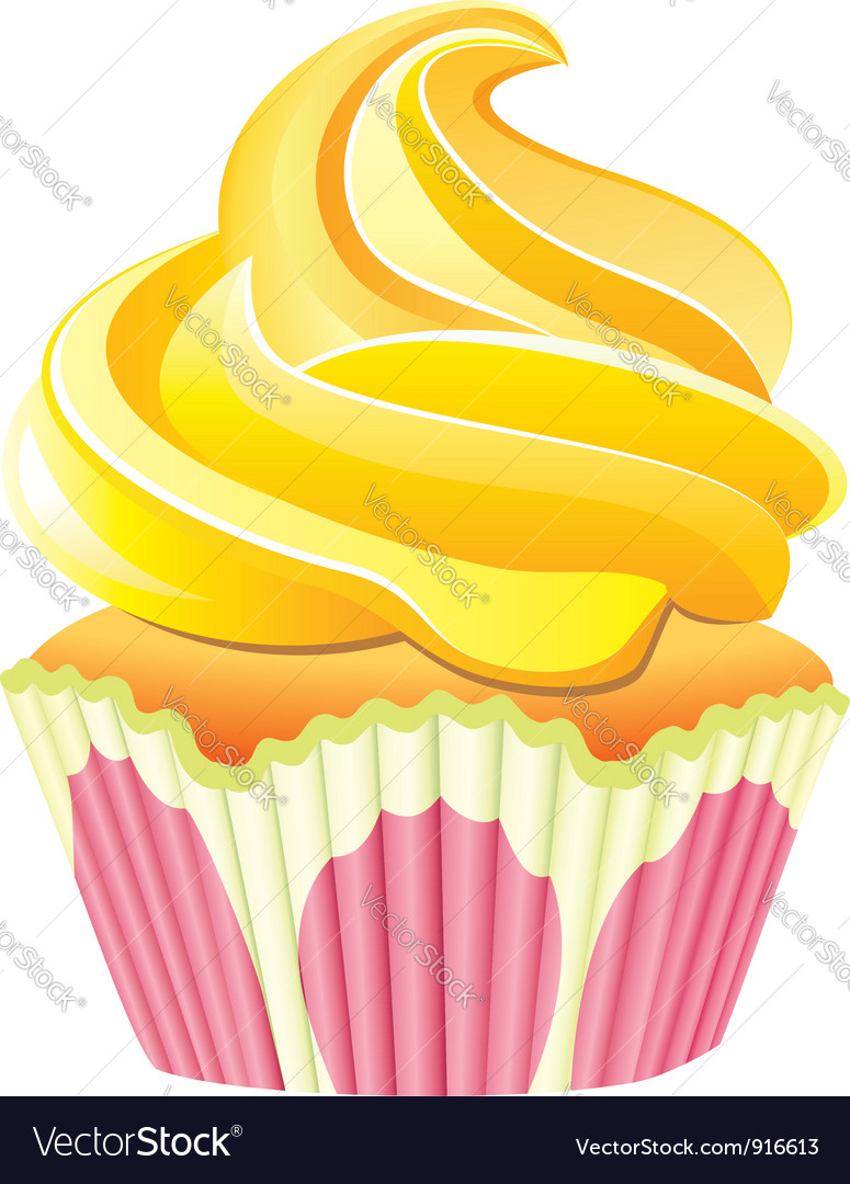 Cupcake with yellow cream vector
