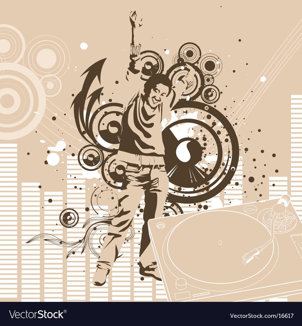 Urban dj graphic background vector
