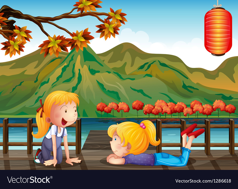 Two girls talking at the wooden bridge vector