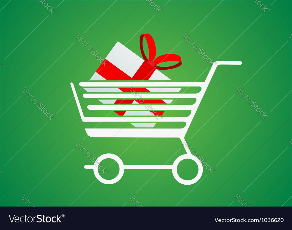 Trolley with a gift inside vector