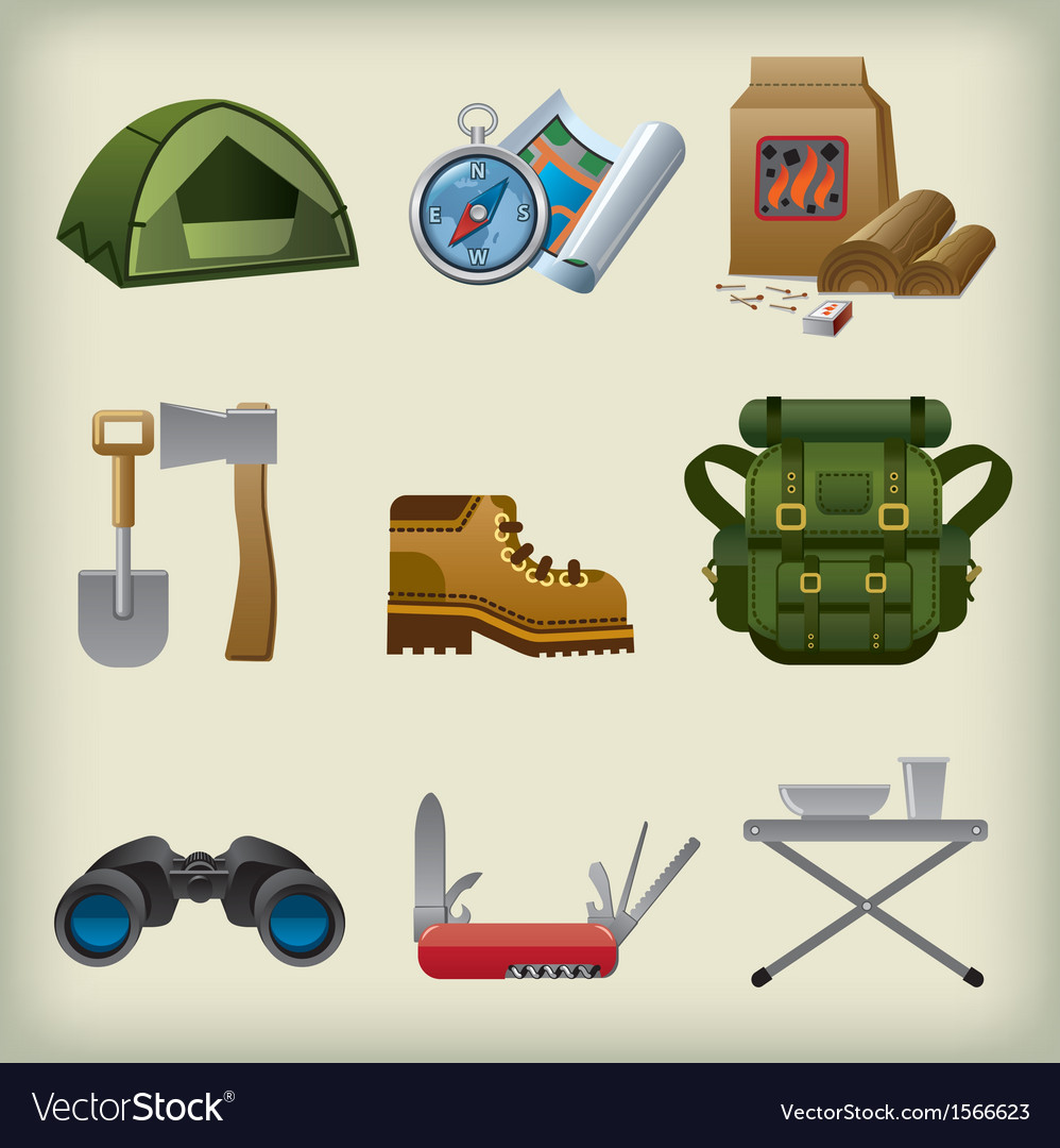 Tourism equipment icons vector