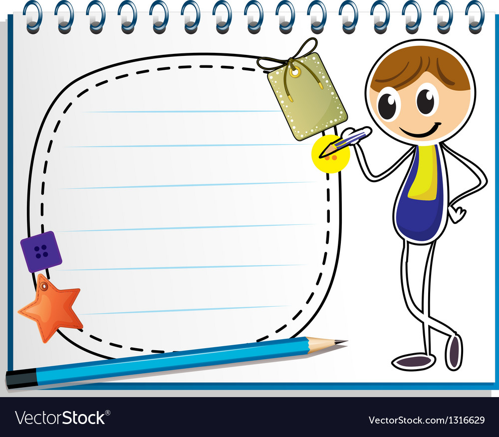 A notebook with an image of a boy writing vector