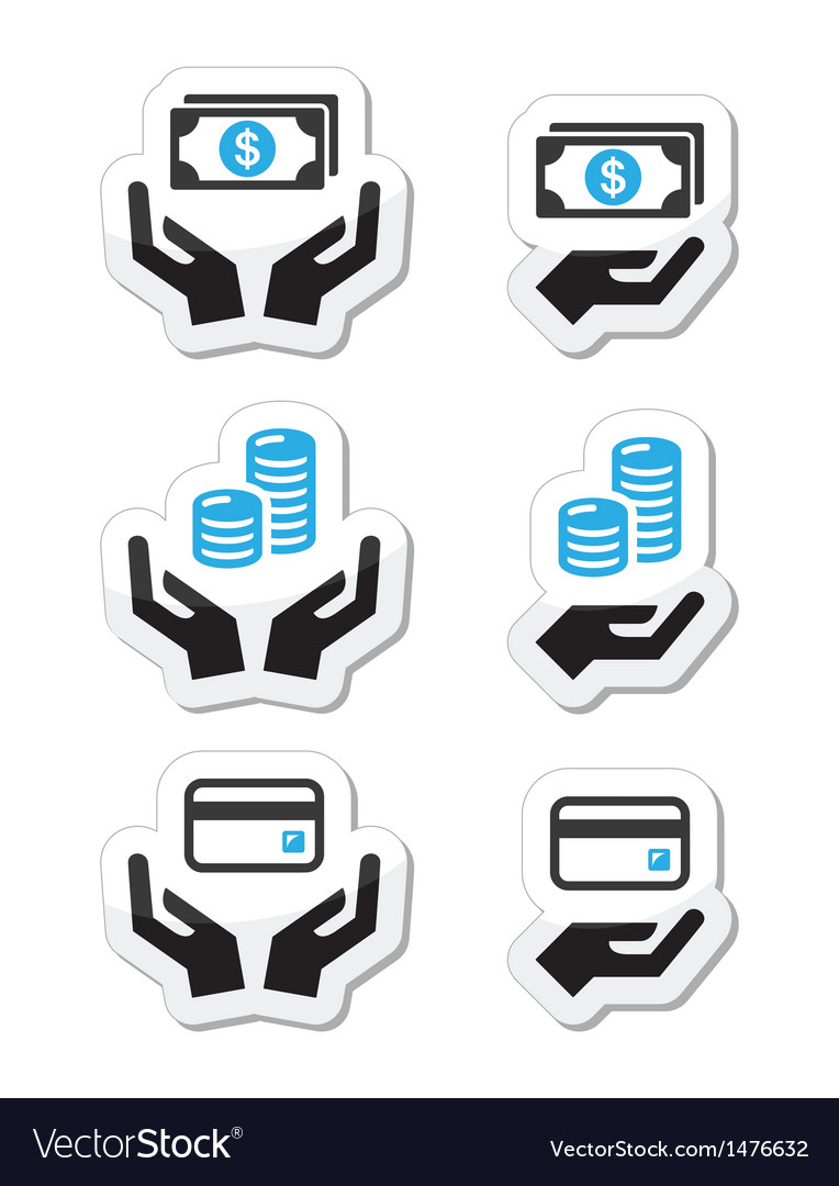 Hands with money coins icons set vector