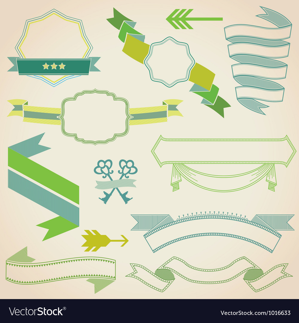 Set of colorful ribbons vector