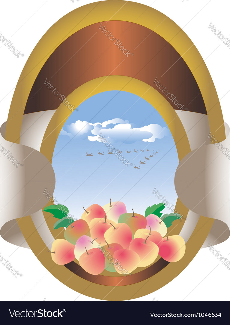 Label with apples in the sky vector