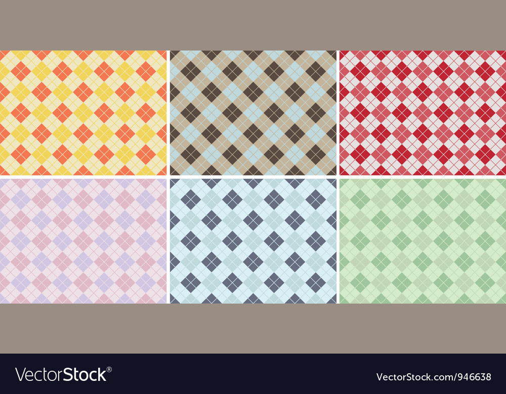Plaid pattern seamless set vector