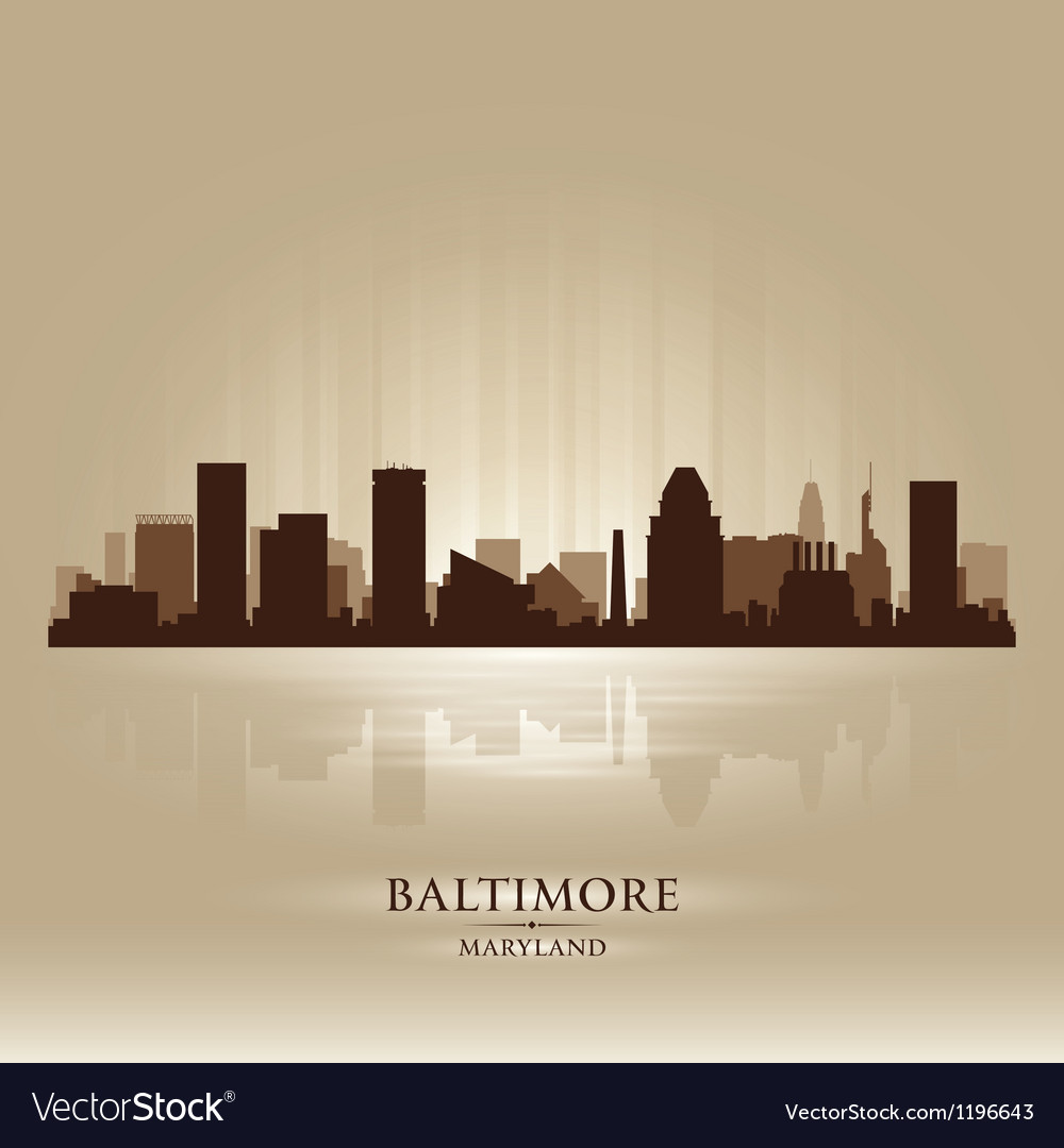 Baltimore maryland skyline city silhouette vector