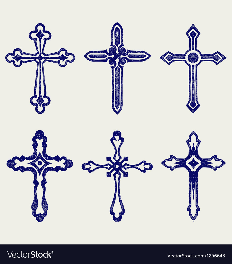 Religious cross design collection vector