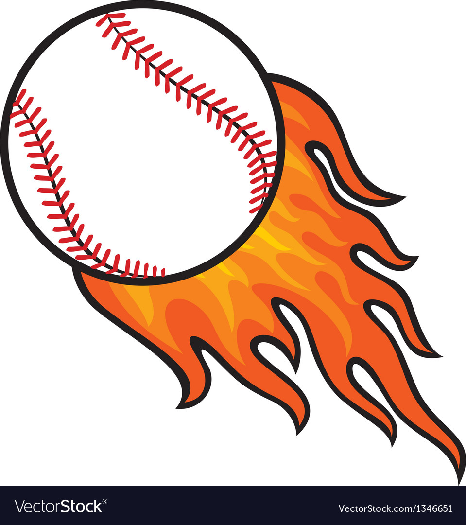 Baseball ball in fire vector