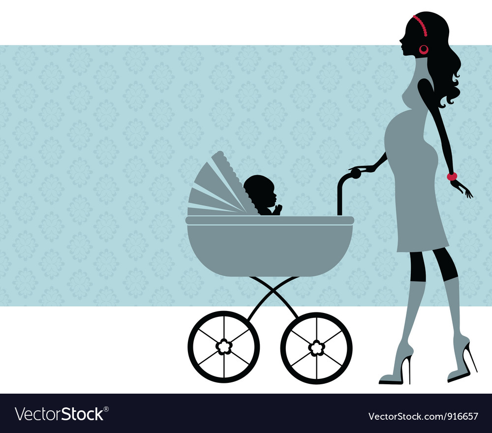 Pregnant mom with child in pram vector